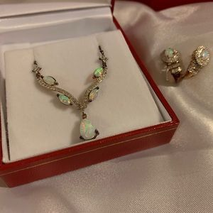 Jewelry - Opal necklace and earring set